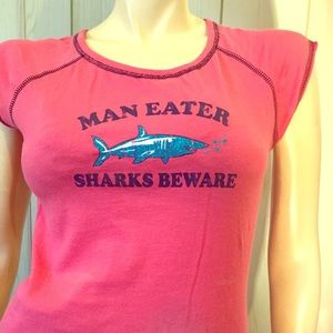 MAN EATER SHARKS BEWARE Sassy Decal Retro T-shirt