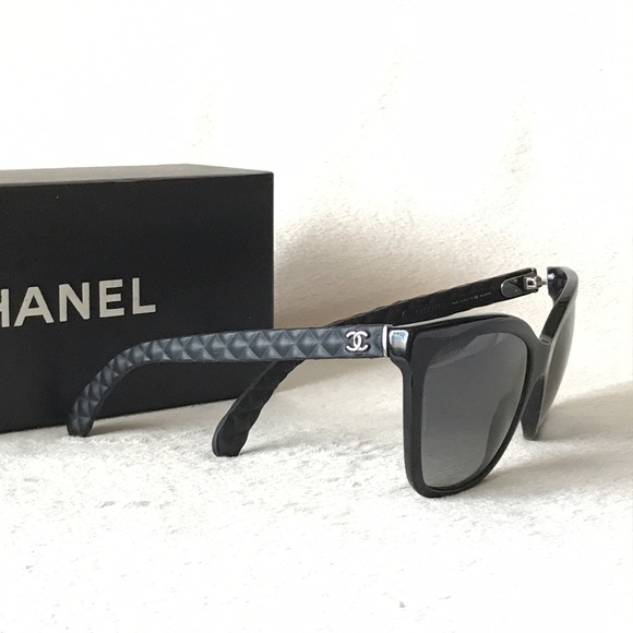 0717c23ddc5f CHANEL Accessories - Chanel Black Butterfly CC Logo Quilted Sunglasses