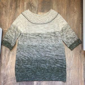 Rachel Roy Army Green & Beige Tunic knit Sweater