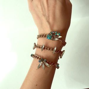 Set of ASOS Bracelets with white teal & blue gems