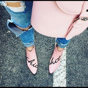 CHIC SHIT Modern Vice pink handler leather  boots