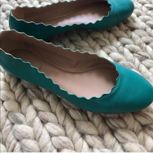 2a4faac7f Chloe Shoes   Lauren Scalloped Flat In Teal   Poshmark