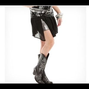 New Black Cowgirl Tuff sheer skirt with sequins!