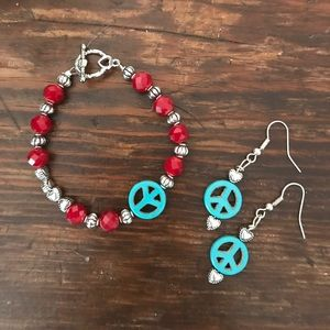 Jewelry - Peace Bracelet & Earring set!❤️🌈