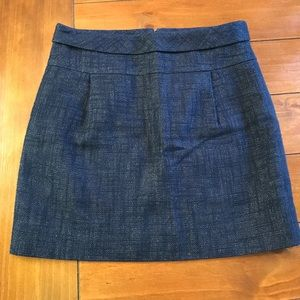 {j. Crew} Blue and Silver Mini Skirt 