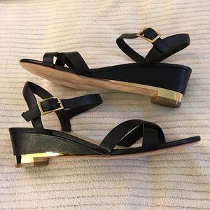 9d2f78a90d3d Cole Haan Shoes - Cole Haan Melrose Low Wedge Sandals Black Gold 9B