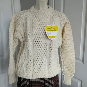 Handwooven knit cardigan sweater.