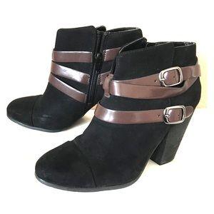 Black suede heeled booties size 7.5