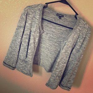Express sweater jacket 3/4 sleeve w/ beaded detail