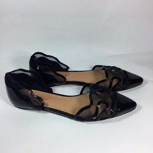 JustFab Adaliyah Black Mesh/Patent Leather Flats