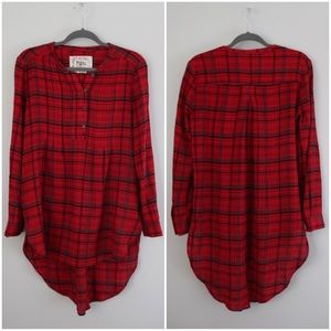 Anthropologie Plaid High-Low Tunic