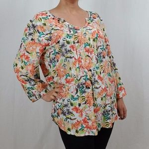 CATO LOOSE FIT 3/4 SLEEVE FLORAL BLOUSE