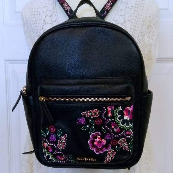 9475e4041d Embroidered leather Leighton backpack Vera Bradley