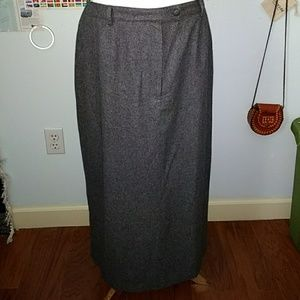 Sag Harbor Gray Wool Blend Maxi Skirt