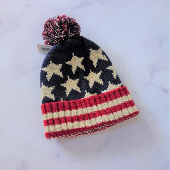 ff4aa8c11 Stars and Stripes Beanie Hat Pom Red White Blue Boutique