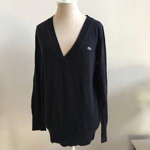 Lacoste black deep v neck sweater Size Medium