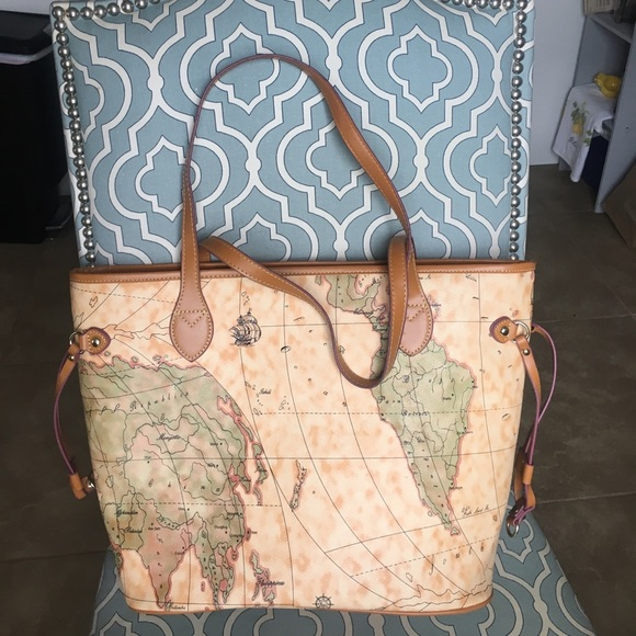 Bags leather traveling tote world map poshmark leather traveling tote world map gumiabroncs Images