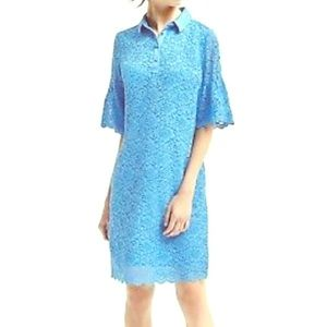 NWT Banana Republic blue lace shortsleeve dress PL