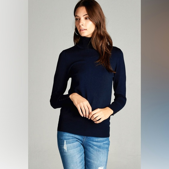 Sweaters - Basic Navy Long Sleeve Turtleneck