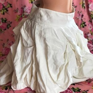 White linen costume skirt renaissance fair bustle