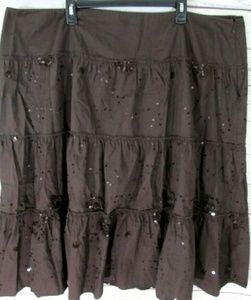 AVENUE BROWN SEQUIN BLING Maxi Skirt Tiered Ruffle