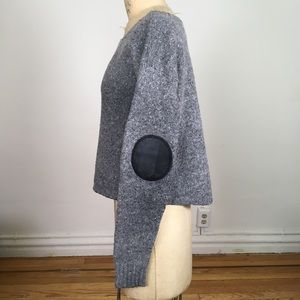Joie Jeannie Tweed Sweater Grey with Elbow Patches