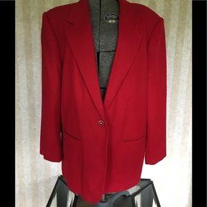 Sag Harbor plus size red wool blazer.