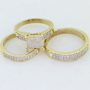 Jewelry - 10K Yellow Gold His & Her Diamond Wedding Set