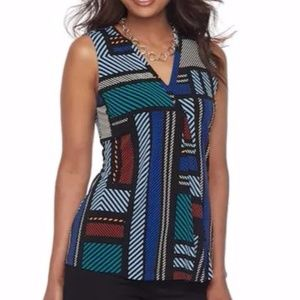 Women's Pleated V-Neck Top Cobalt Patchwork NWT!