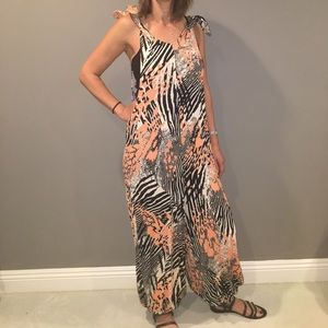 Free people Zebra/Leopard pattered jumpsuit
