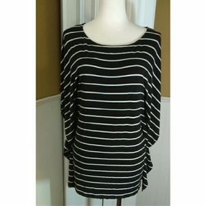 michael kors black and white striped oversized top