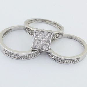 Jewelry - 10K His and Her's Trio Diamond Wedding Set