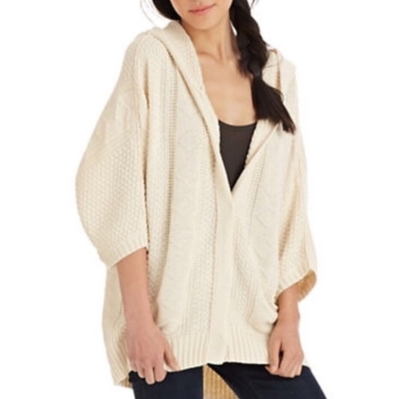 85% off Free People Sweaters - Slouchy Oversized Cable Knit Hooded ...