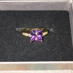 Jewelry - Purple princess cut gold tone Ring