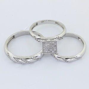 Jewelry - 10K W Gold His & Her Diamond Engagement Bridal Set