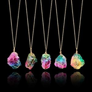 Jewelry - Rainbow Druzy Quartz Crystal Rock Pendant Necklace
