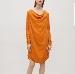 Cowl Neck Orange Dress
