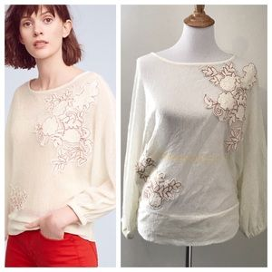 Anthro Poet Lace Bell Sleeve Blouse by Akemi + Kin