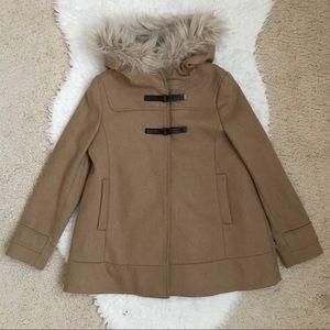 Never worn Zara Woolen Coat with Fur Hood