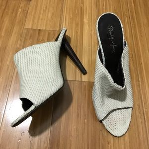 Elizabeth and James Ecru Snakeskin Slide Heels