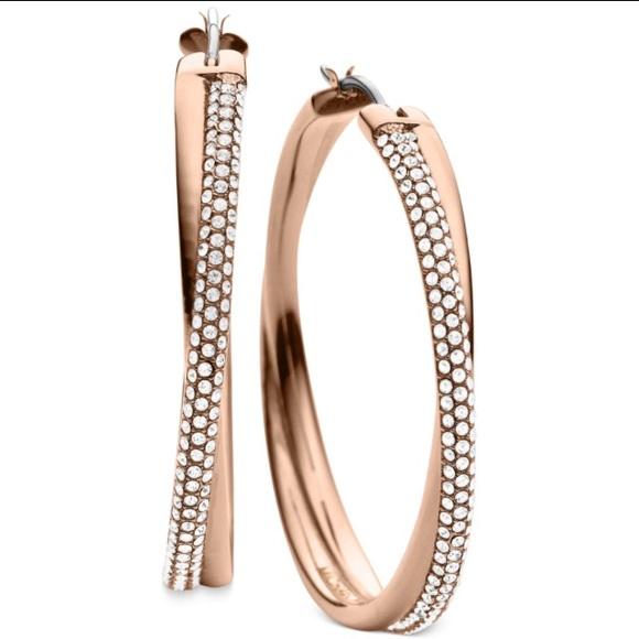 ece42d685 Michael Kors clear pave crossover hoop earrings. M_59fbc2f9c284566c5201b8c7