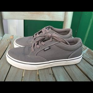 Youth Girls Grey Vans Canvas Sneakers Size 5M EUC