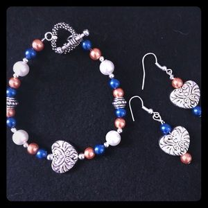 Jewelry - Broncos colors bead bracelet and earrings!