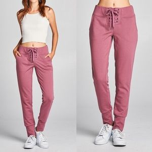 JENNIE Jogger Pants  - DARK PINK