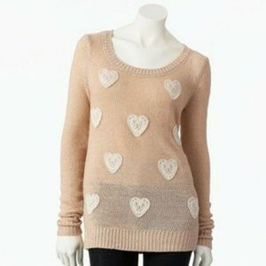 Lauren Conrad Sparkly Embroidered Heart Sweater