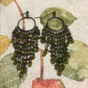 Jewelry - Long Green Sequin Dangle Pierced Earrings