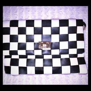 Handbags - Checkered Print Envelope Clutch