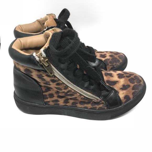 592aa4b5cb5 Steve Madden black leopard print high top sneakers