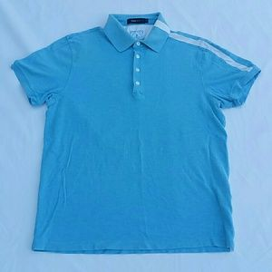 Men's Zegna Sport Baby Blue White SS Polo Shirt