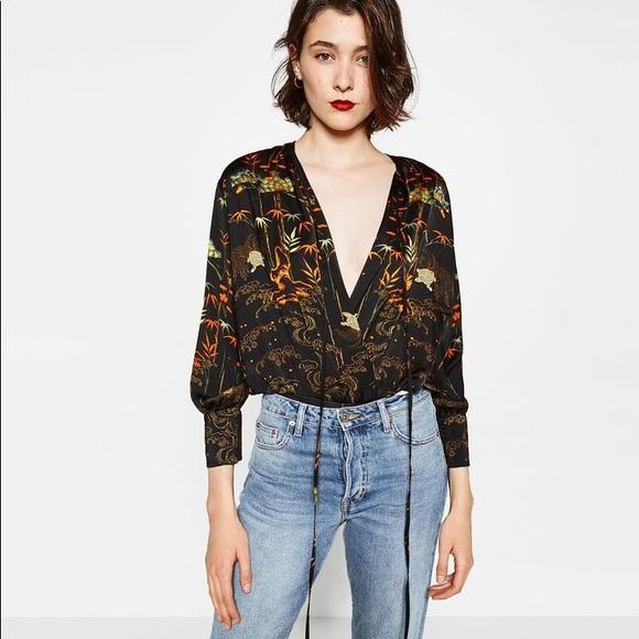 c6e92838b0deea Zara Tops | Silk Wrap Bodysuit Print Long Sleeve 70s | Poshmark